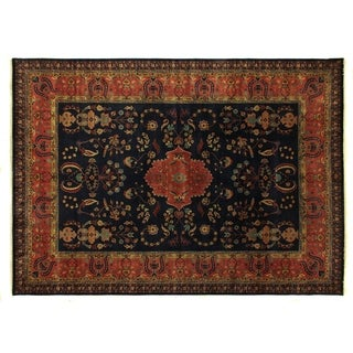 Exquisite Rugs Mohajeran Red / Navy New Zealand Wool Round Rug (8' x 8')