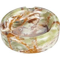 Visol Sphere III Light Pink and Brown Round Onyx Stone Cigar Ashtray with 3 Cigar Rests