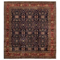 Exquisite Rugs Ferahan Navy / Red New Zealand Wool Round Rug - 8' x 8'