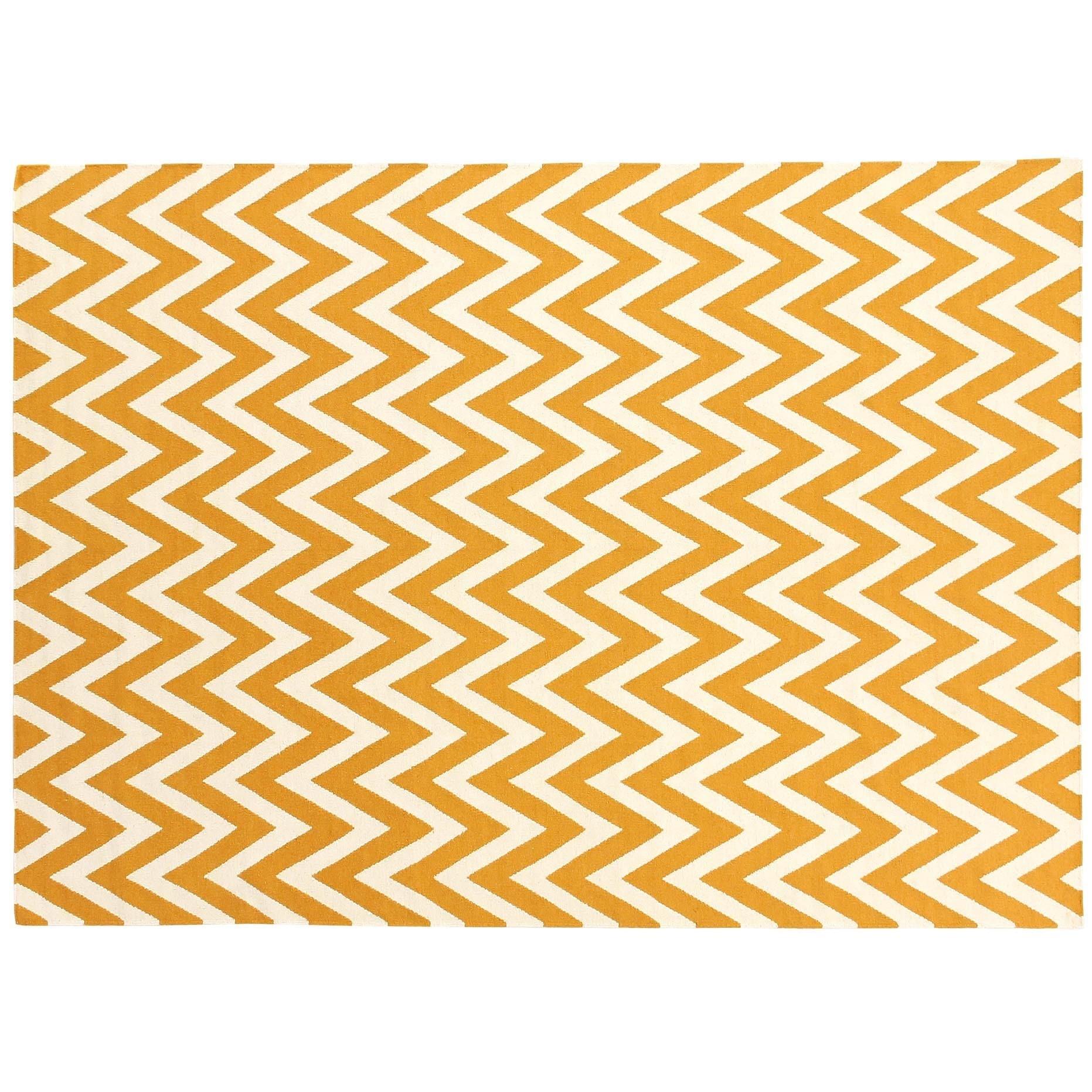 Exquisite Rugs Zigzag Flatweave Pumpkin New Zealand Wool Rug 8 X