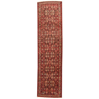 Herat Oriental Persian Hand-knotted 1960s Semi-antique Tribal Hamadan Wool Runner (3'5 x 13'2)