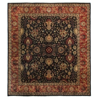 Super Mashad Black / Red New Zealand Wool Square Rug (11' x 11')