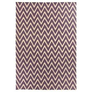 ZigZag Flatweave Plum / Cream New Zealand Wool Rug (9'6 x 13'6)