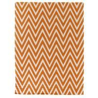 Exquisite Rugs ZigZag Flatweave Orange / White New Zealand Wool Rug - 8' x 11'
