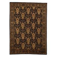Exquisite Rugs Super Tibetan Black Hand-spun New Zealand Wool and Silk Round Rug (8' Round) - 8' x 8'
