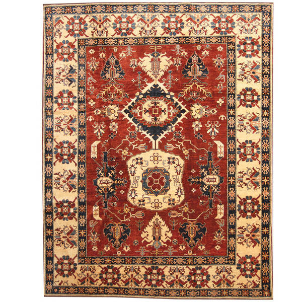 Handmade Herat Oriental Afghan Tribal Kazak Wool Rug (Afghanistan) - 9'9 x 12'6