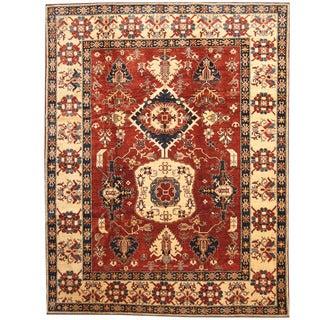 Herat Oriental Afghan Hand-knotted Tribal Kazak Red/ Beige Wool Rug (9'9 x 12'6)