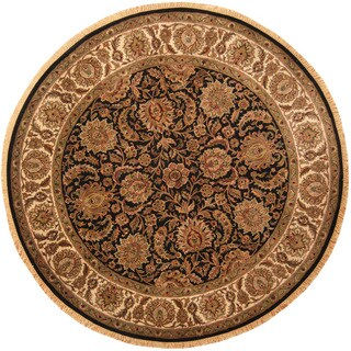 Herat Oriental Indo Hand-knotted Khorasan Black/ Ivory Wool Round Rug (8'3 x 8'3)