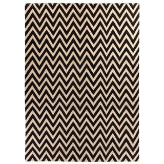 ZigZag Flatweave Navy / White New Zealand Wool Rug (8' x 11')