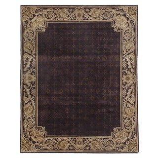 Tibetan-weave Eggplant / Gold Hand-spun New Zealand Wool and Silk Rug (6')