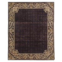 Exquisite Rugs Super Tibetan Eggplant / Gold New Zealand Wool and Silk Round Rug - 8' x 8'