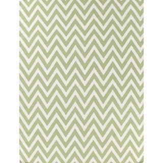 ZigZag Light Green / White New Zealand Wool Flatweave Rug (8' x 11')