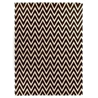 ZigZag Flatweave Chocolate / White New Zealand Wool Rug (11' x 15')