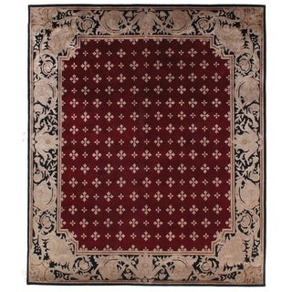 Tibetan-weave Royal Red New Zealand Wool and Silk Hand-spun Round Rug (6')
