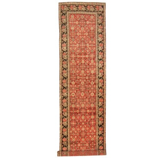 Herat Oriental Persian Hand-knotted 1920s Antique Tribal Malayer Red/ Brown Wool Runner (3'5 x 15'6)