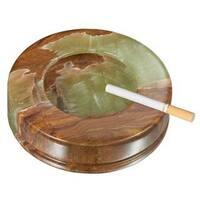 Visol Disk II Multicolored Round Onyx Stone Cigarette Ashtray with 3 Rests