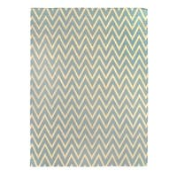 Exquisite Rugs ZigZag Flatweave Aqua New Zealand Wool Rug - 8' x 11'