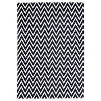 Exquisite Rugs Zigzag Dhurrie Black / White New Zealand Wool Rug (8' x 11')