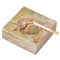 Visol Sugilite Brown and Olive Square Onyx Stone Cigarette Ashtray with 2 Rests