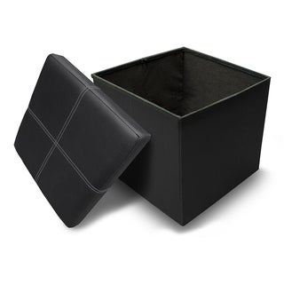 Crown Comfort's Black Memory Foam Folding Ottoman with Line Design