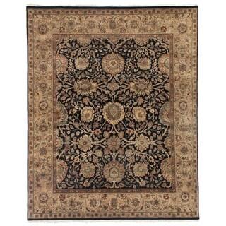 Agra Black / Beige New Zealand Wool Rug (9' x 10')