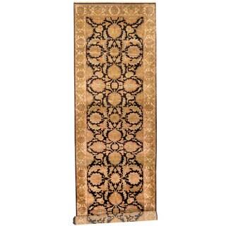 Herat Oriental Indo Hand-knotted Khorasan Black/ Ivory Wool Runner (5' x 18')