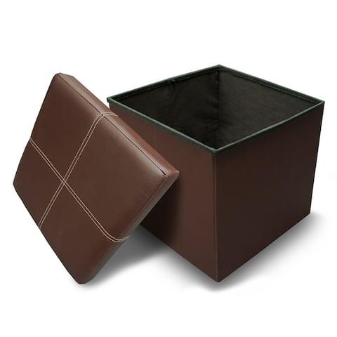 Line Design Brown Memory Foam Folding Ottoman By Crown Comfort