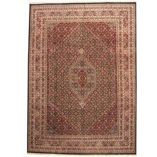 Herat Oriental Indo Hand-knotted Bidjar Black/ Red Wool Rug (10' x 13'10)