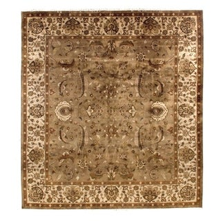 Exquisite Rugs Agra Grey / Ivory New Zealand Wool Rug (10' x 14')