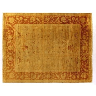 Anatolian Oushak Gold and Rust New Zealand Wool Rug (9' x 10')