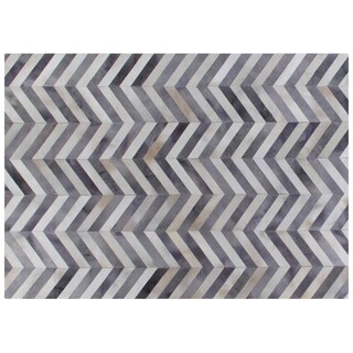 Exquisite Rugs Chevron Pewter / White Leather Hair-on Hide Rug (9'6 x 13'6)
