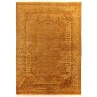 Exquisite Rugs Anatolian Oushak Gold / Grey New Zealand Wool Rug - 9' x 12'