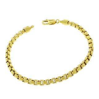 14k Yellow Gold 5mm Round Box Link Fancy Bracelet