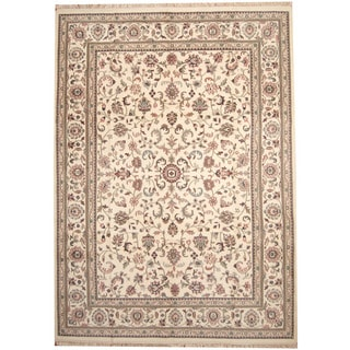 Herat Oriental Indo Hand-knotted Kashan Ivory/ Salmon Wool Rug (10'1 x 13'10)