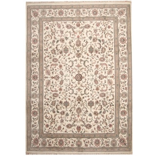 Herat Oriental Indo Hand-knotted Kashan Ivory/ Salmon Wool Rug (10' x 14')