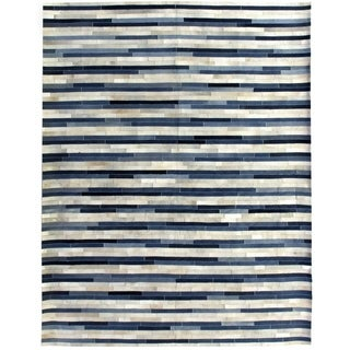 Berlin Natural / Blue Leather and Denim Rug (11'6 x 14'6)