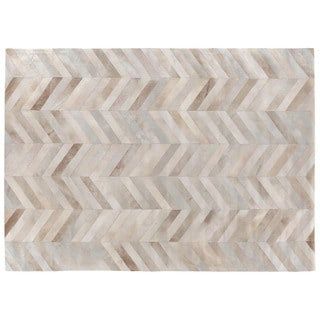 Chevron Hide Beige / White Leather Hair-on-hide Rug (8' x 11')