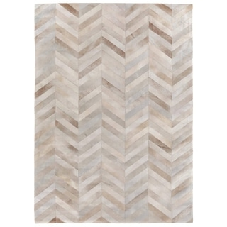 Chevron Beige / White Leather Hair-on Hide Rug (9'6 x 13'6)