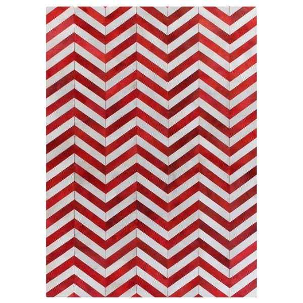 Exquisite Rugs Chevron Hide Red White Leather Hair On Rug 8 X 11