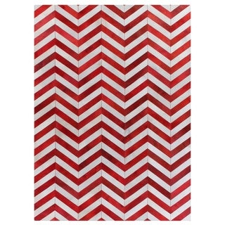 Chevron Hide Red / White Leather Hair-on-Hide Rug (9'6 x 13'6)