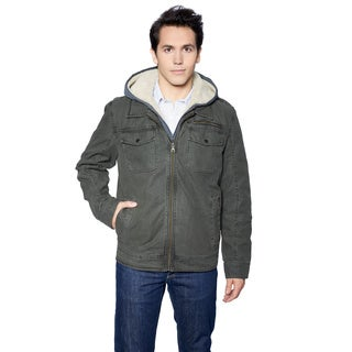 GH Bass Men's 2 Pocket Laydown Collar Jacket w/ Sherpa Lined Hood