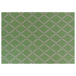 Diamond Dhurrie Light Green New Zealand Wool Rug (8' x 11')