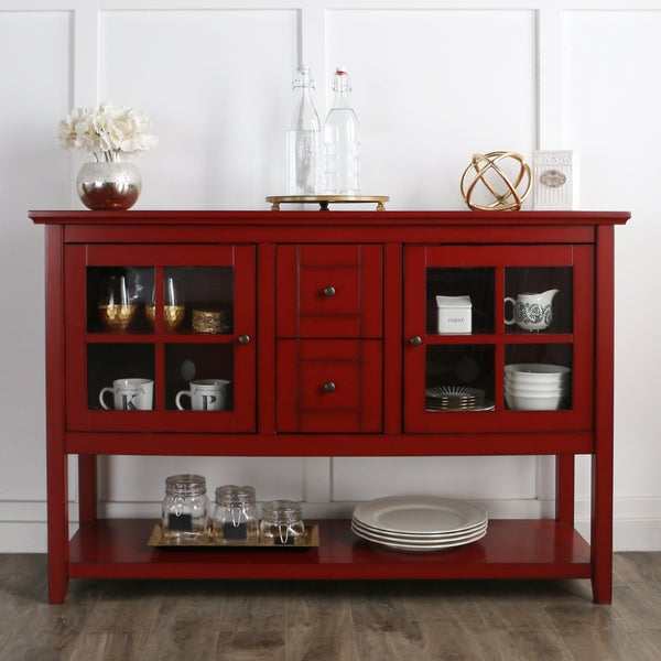 High Quality 52 Inch Antique Red Wood Console Table/ Buffet