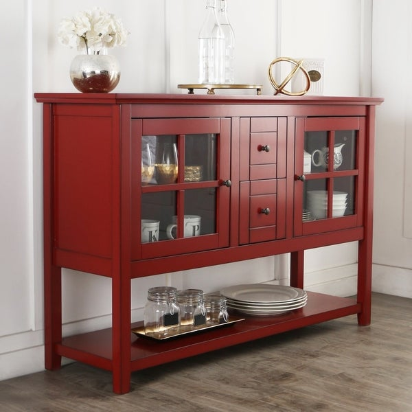 52 Tv Console Buffet Cabinet Antique Red X 16