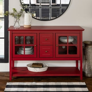 52 Inch Antique Red Wood Console Table/ Buffet