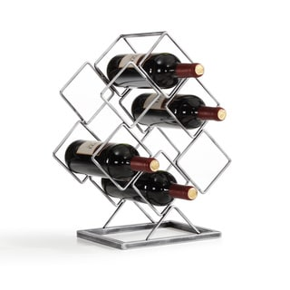 Danya B 6 Bottle Antique Silver Elecroplated Wine Rack