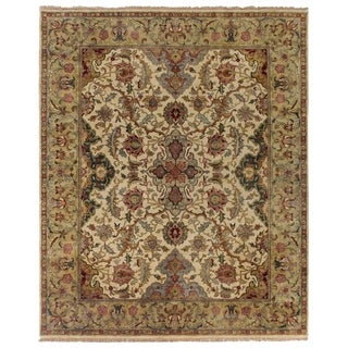 Exquisite Rugs European Polonaise Ivory / Sage New Zealand Wool Rug (10' x 14')