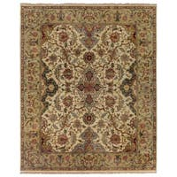 Exquisite Rugs European Polonaise Ivory / Sage New Zealand Wool Rug (8' x 10')