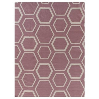 Exquisite Rugs Honeycomb Dhurrie Dusty Rose New Zealand Wool Rug (8' x 11')