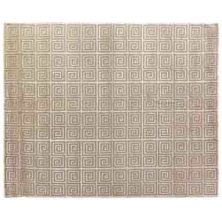 Greek Key Light Beige Wool and Art Silk Rug (9' x 12')